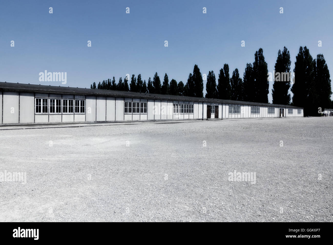 Barrack and grounds of Dachau Concentration camp, Dachau, Munich, Bavaria, Germany - Stock Image