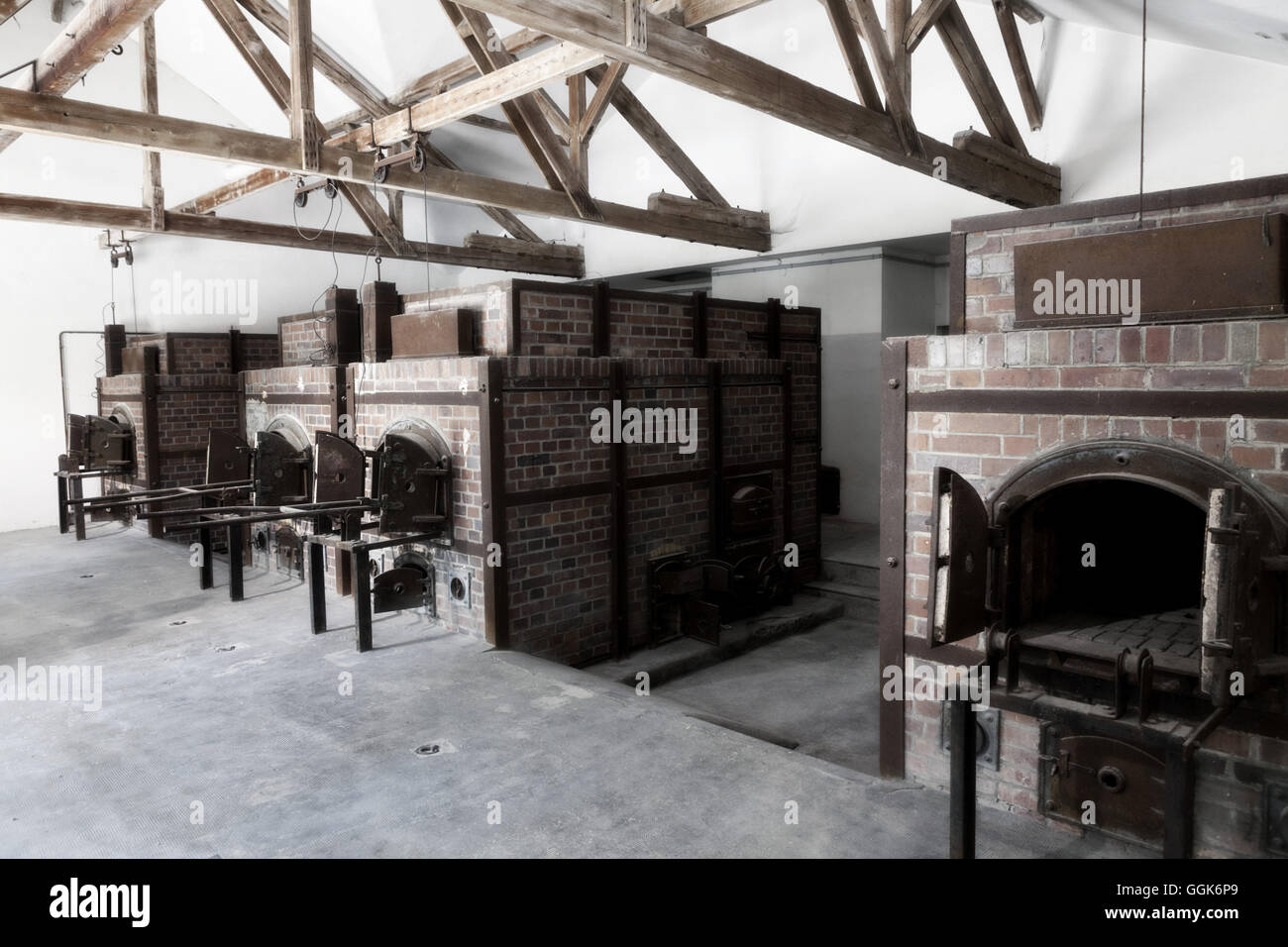 Infamous crematorium, Dachau Concentration Camp, Dachau, Munich, Bavaria, Germany - Stock Image