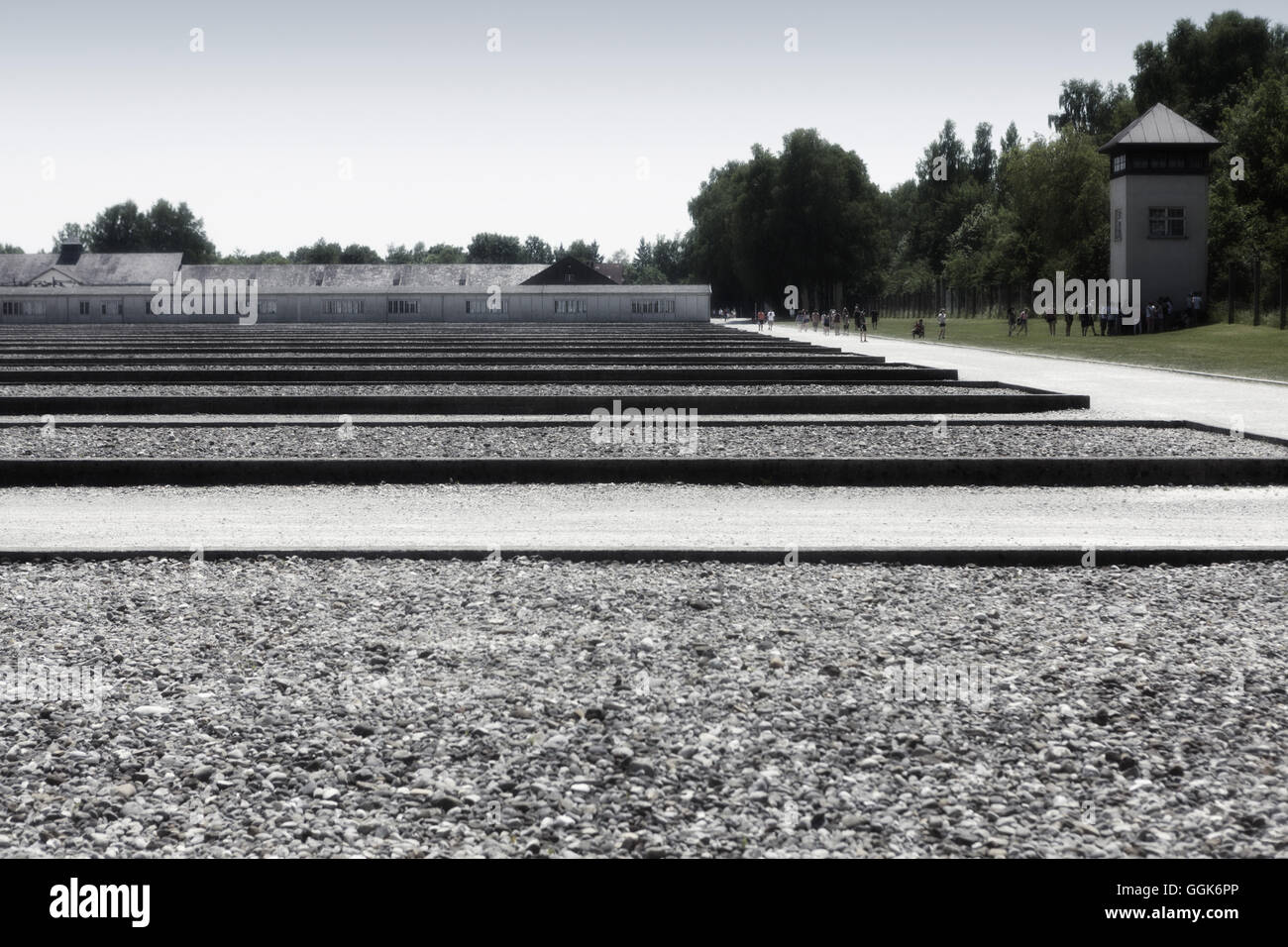 Grounds and ex-barrack foundations, Dachau Concentrations Camp, Dachau, Munich, Bavaria, Germany - Stock Image