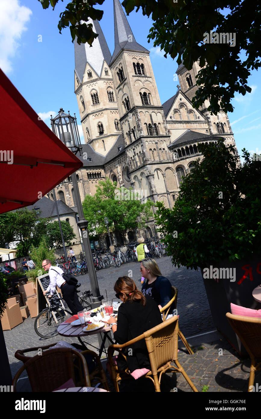 Bonn minster, Bonn, Rhine, North Rhine-Westphalia, Germany - Stock Image