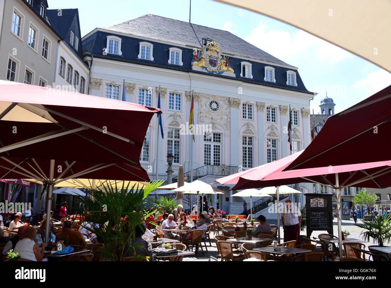 Market square with old town hall, Bonn, Rhine, North Rhine-Westphalia, Germany - Stock Image