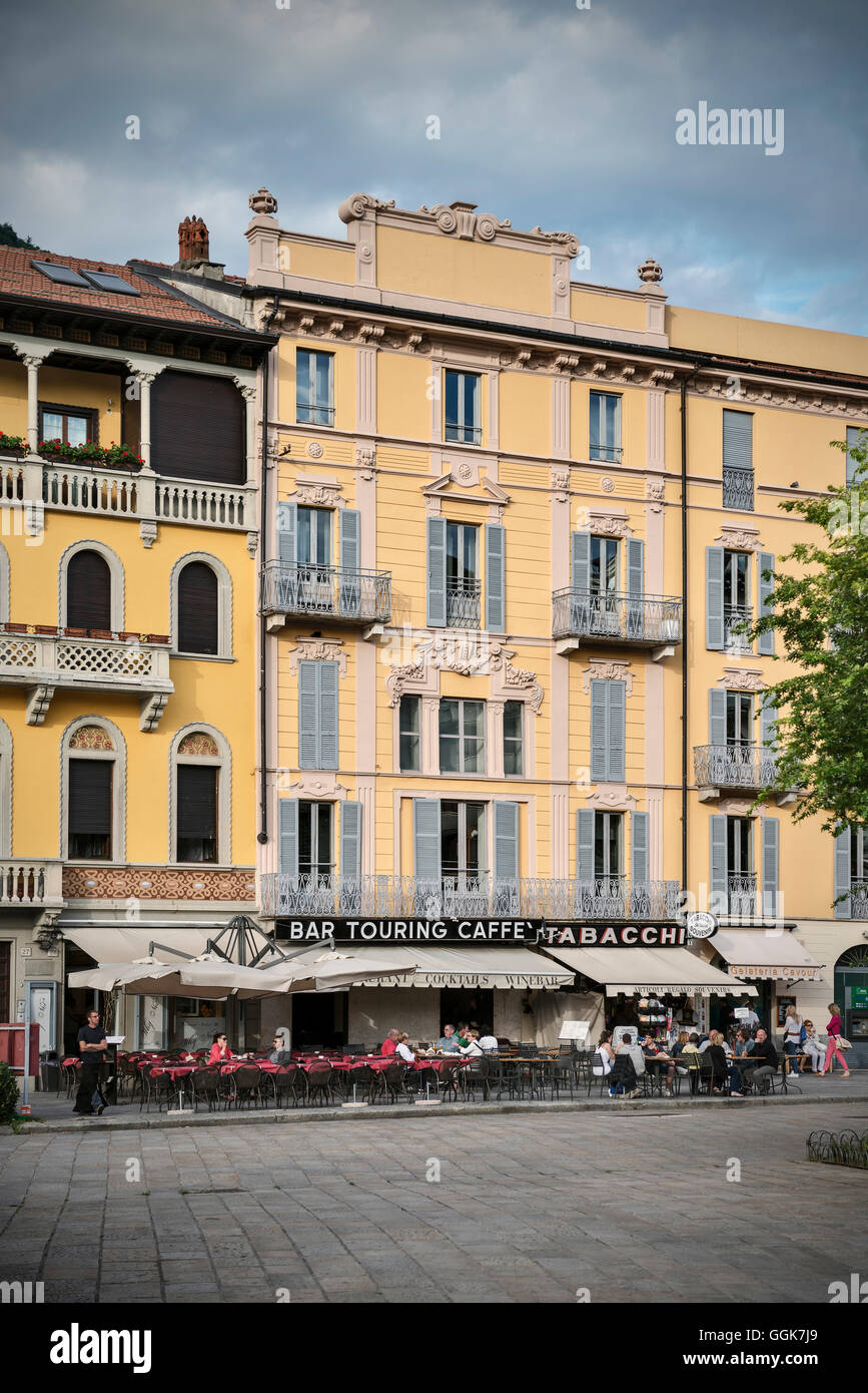 Cosy café in front of historic buildings, Como, town, Lake Como, Lombardy, Italy, Europe - Stock Image