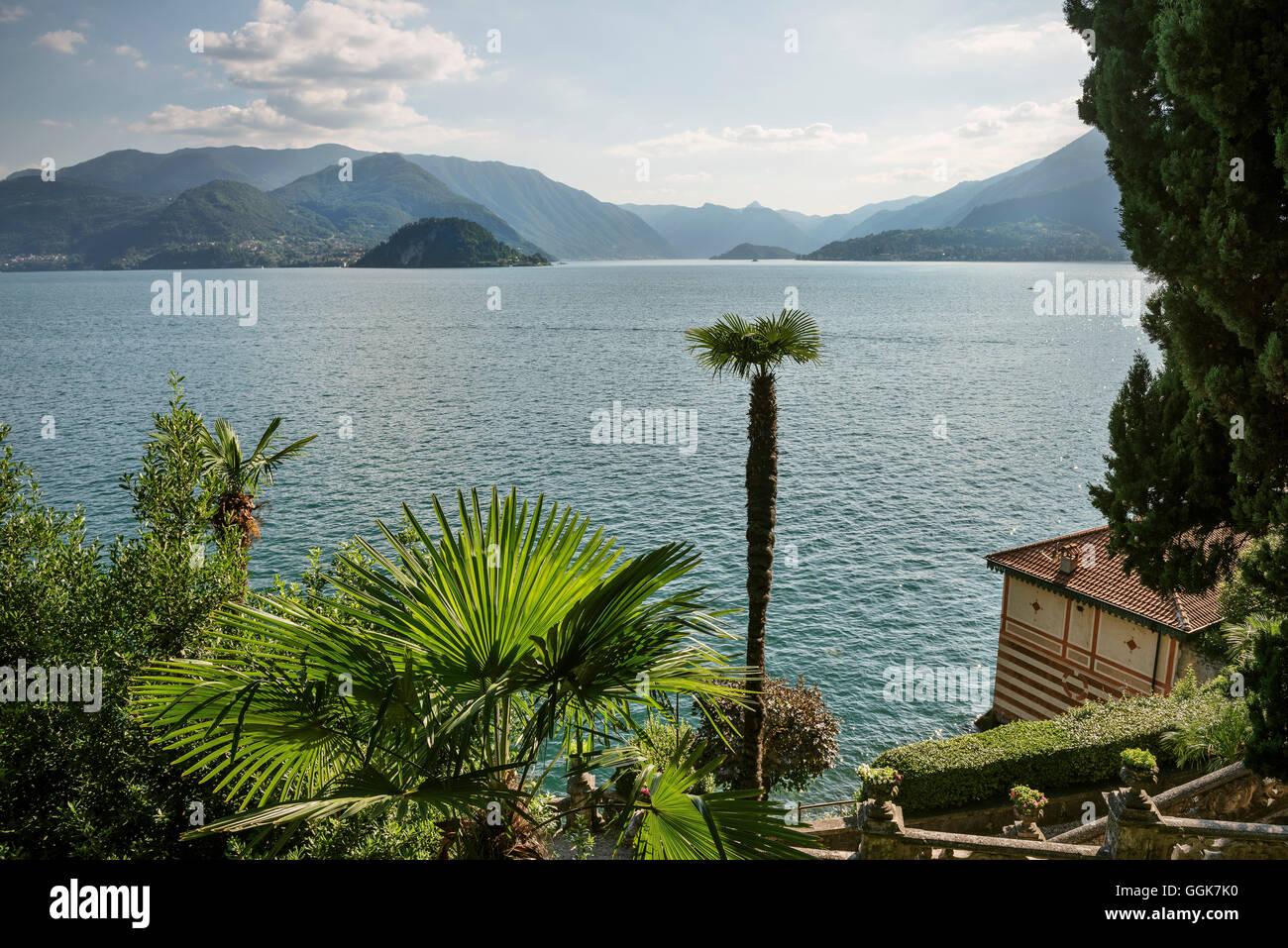 view across Villa Monastero and Lake Como, Varenna, Lombardy, Italy, Europe - Stock Image