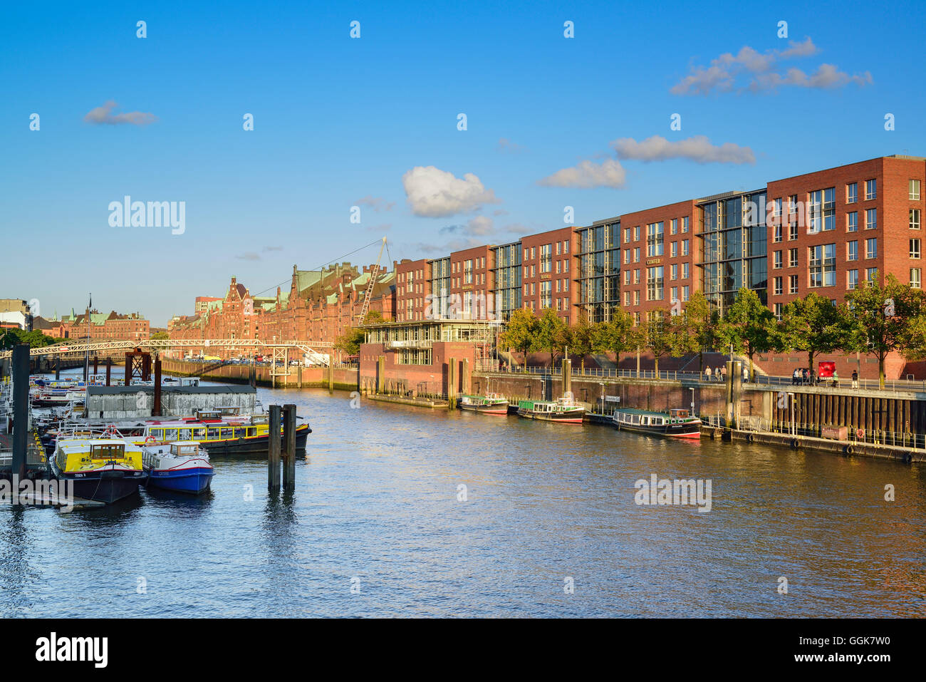 Inland port with old and modern buildings of the old Warehouse district, Warehouse district, Speicherstadt, Hamburg, Stock Photo