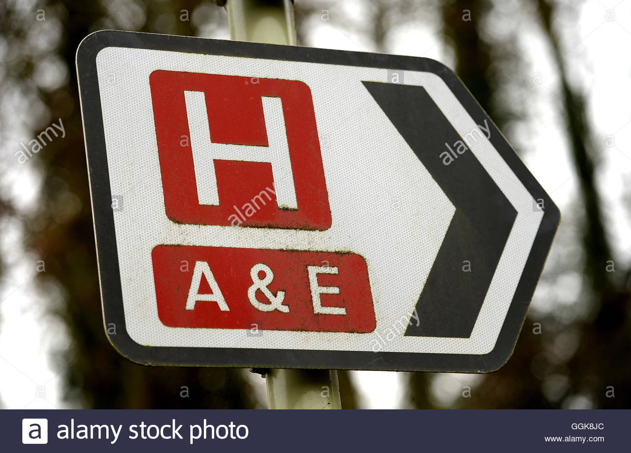 File photo dated 11/03/14 of a sign for a hospital and its Accident and Emergency department. Hospitals face being - Stock Image