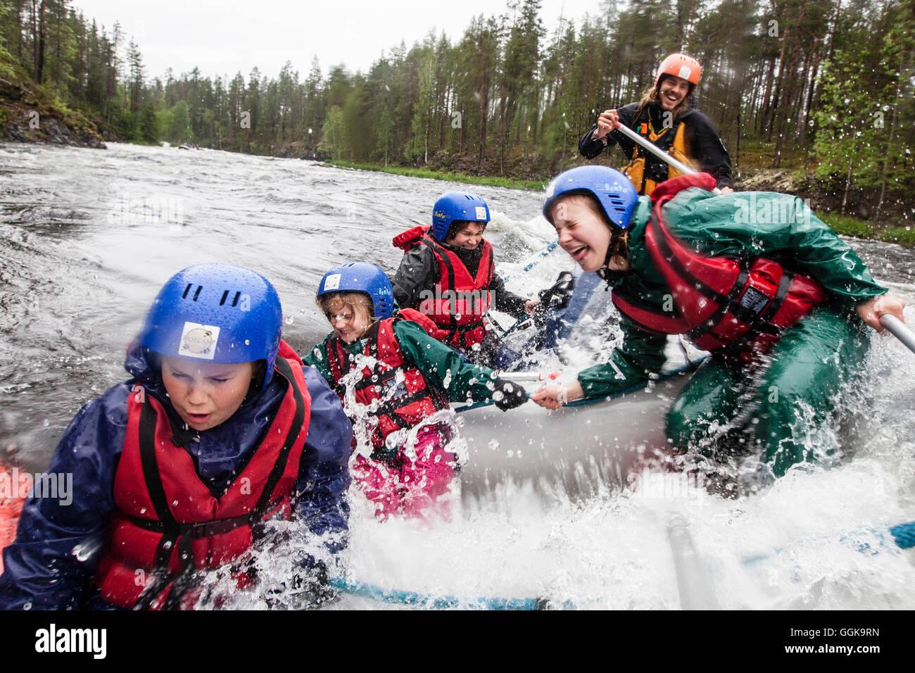 Rafting on the river Kitkajoki, Oulanka National Park, Northern Ostrobothnia, Finland - Stock Image