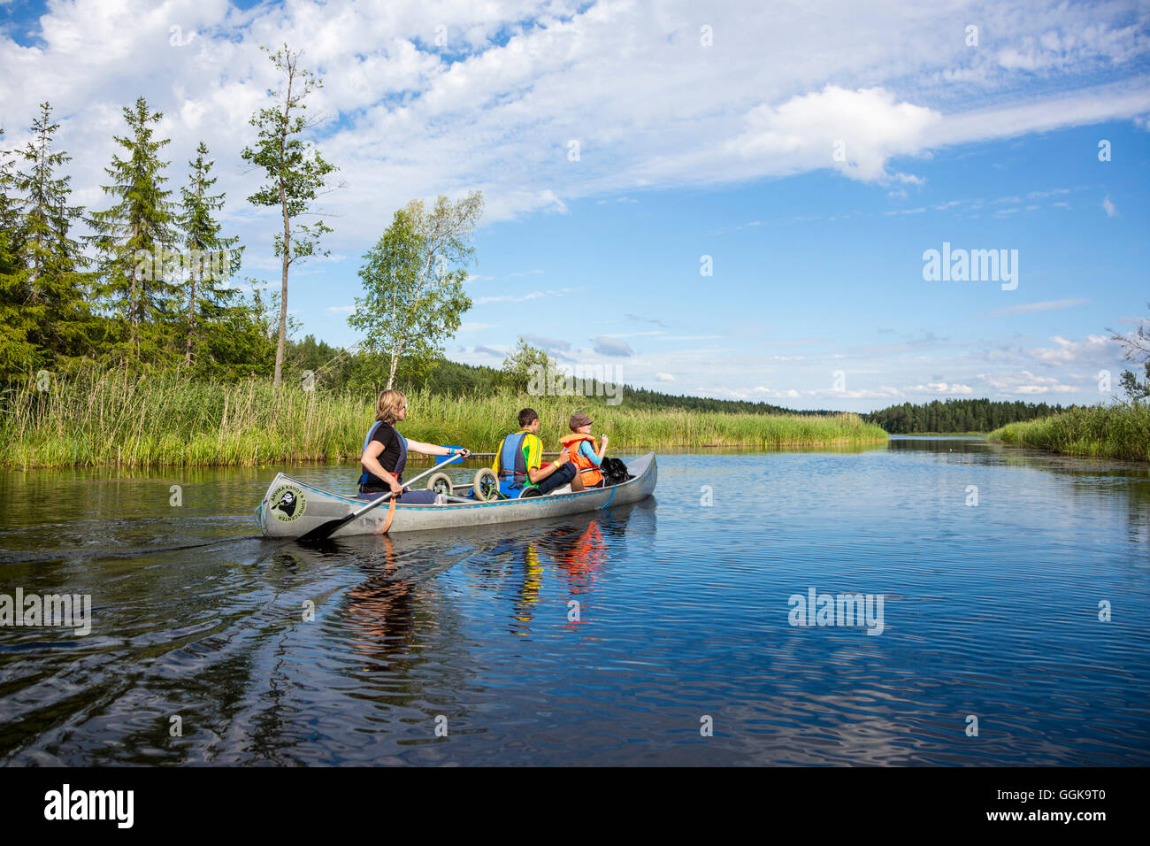 Canoe on lake Vaermeln, Vaermland, Sweden - Stock Image