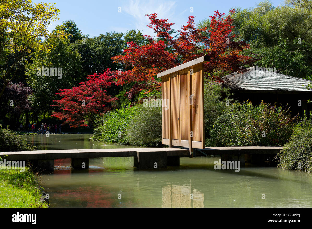 Japanese Teahouse in the English Gardens, Munich, Upper Bavaria, Bavaria, Germany - Stock Image