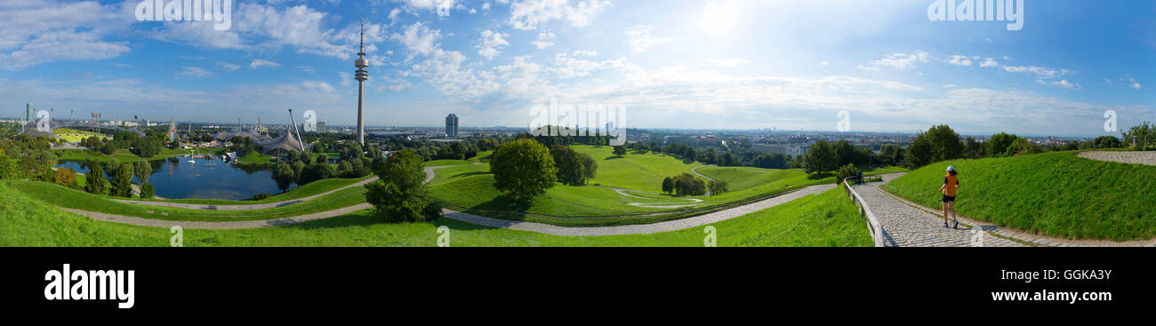 Panorama from Olympic Hill to the Olympic tower and the BMW tower, Allianz arena and Froettmaniger Schuttberg in - Stock Image