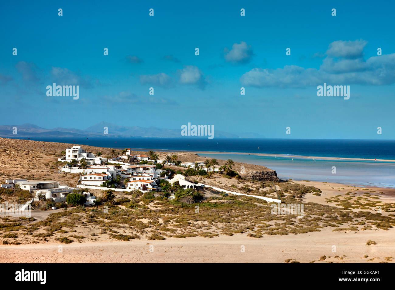 Beach, Playa Barca, Playa de Sotavento, Fuerteventura, Fuerteventura, Canary Islands, Spain - Stock Image