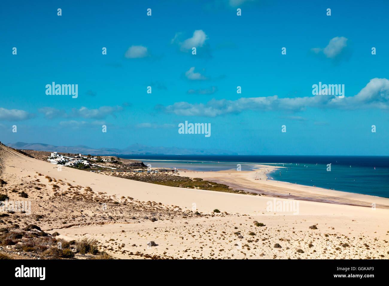 Beach at Playa Barca, Playa de Sotavento, Fuerteventura, Canary Islands, Spain - Stock Image