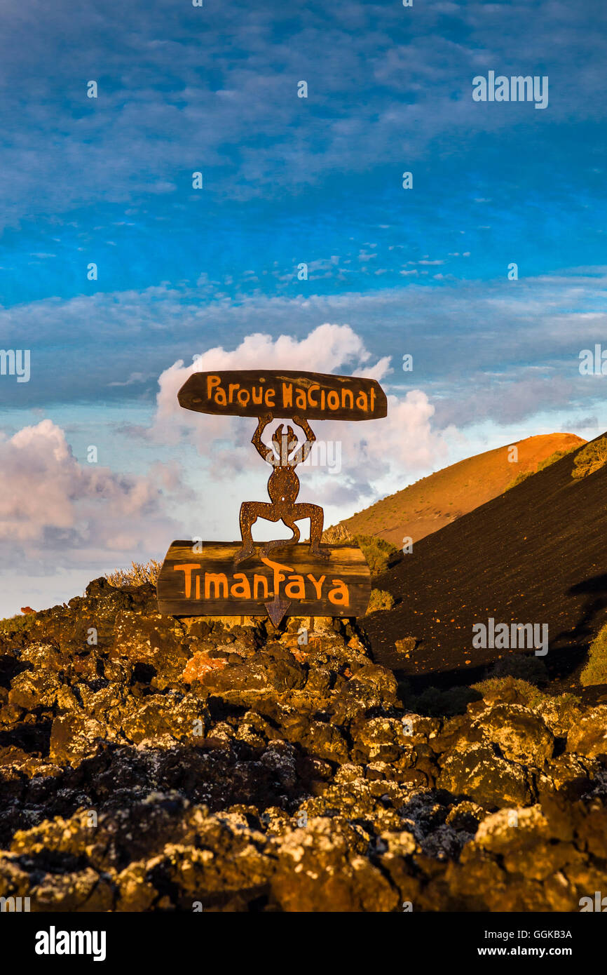 Signpost from Cesar Manrique, Timanfaya national park, Lanzarote, Canary Islands, Spain - Stock Image