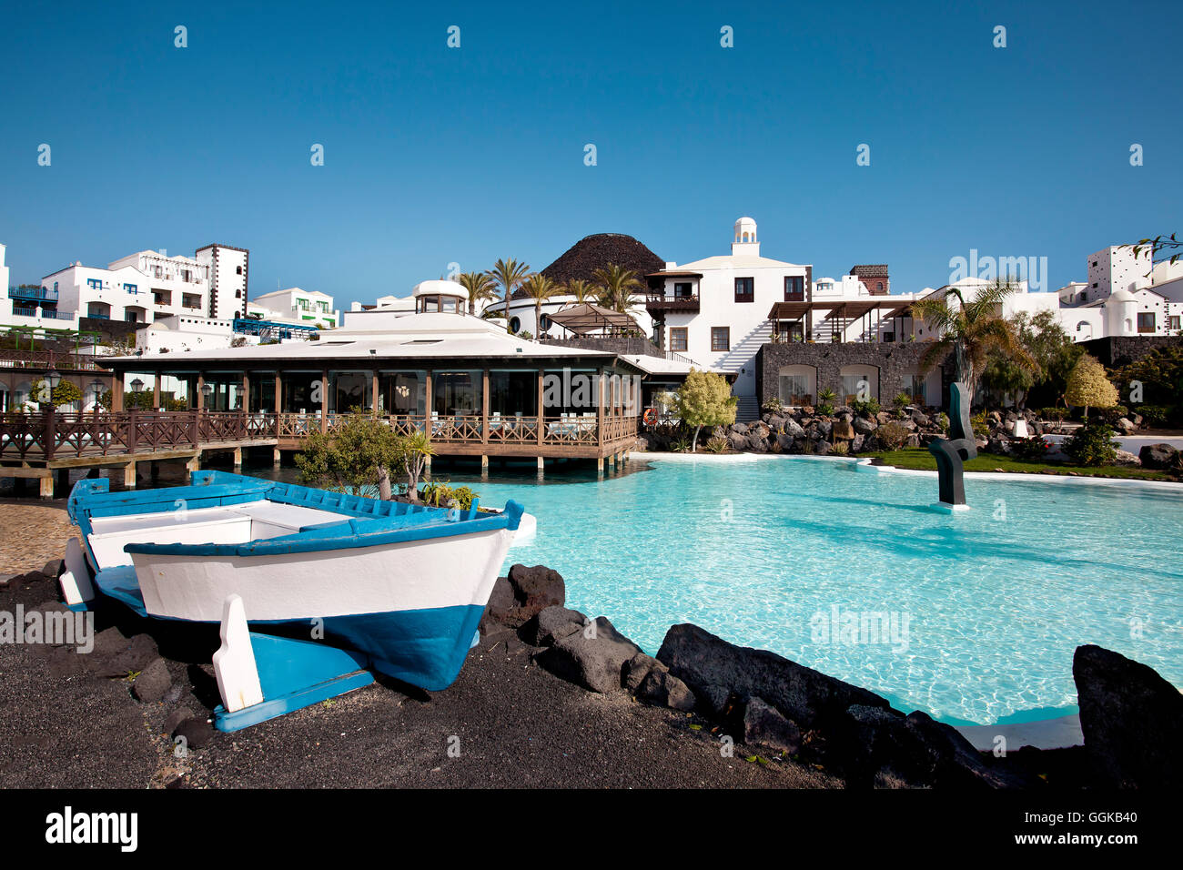 Hotel volcan, Marina Rubicon, Playa Blanca, Lanzarote, Canary Islands, Spain - Stock Image