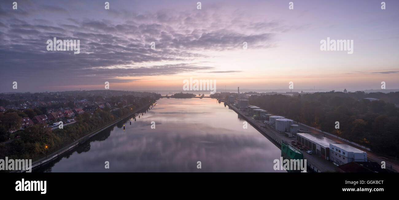 Holtenau locks, Kiel Canal, Kiel, Schleswig-Holstein, Germany - Stock Image