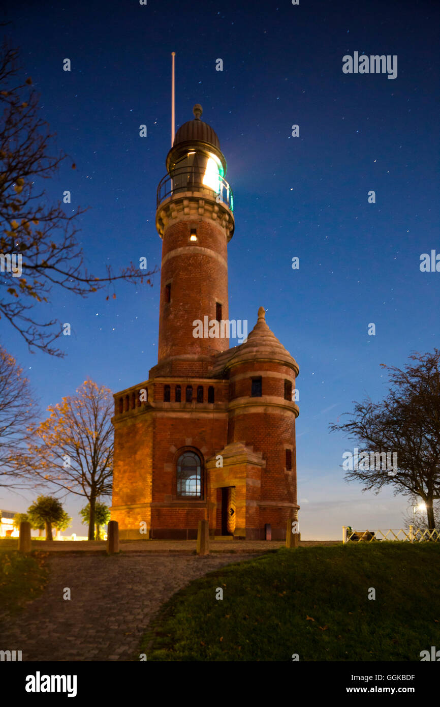 Holtenau lighthouse at night, Holtenau, Kiel Fjord, Kiel, Schleswig-Holstein, Germany - Stock Image