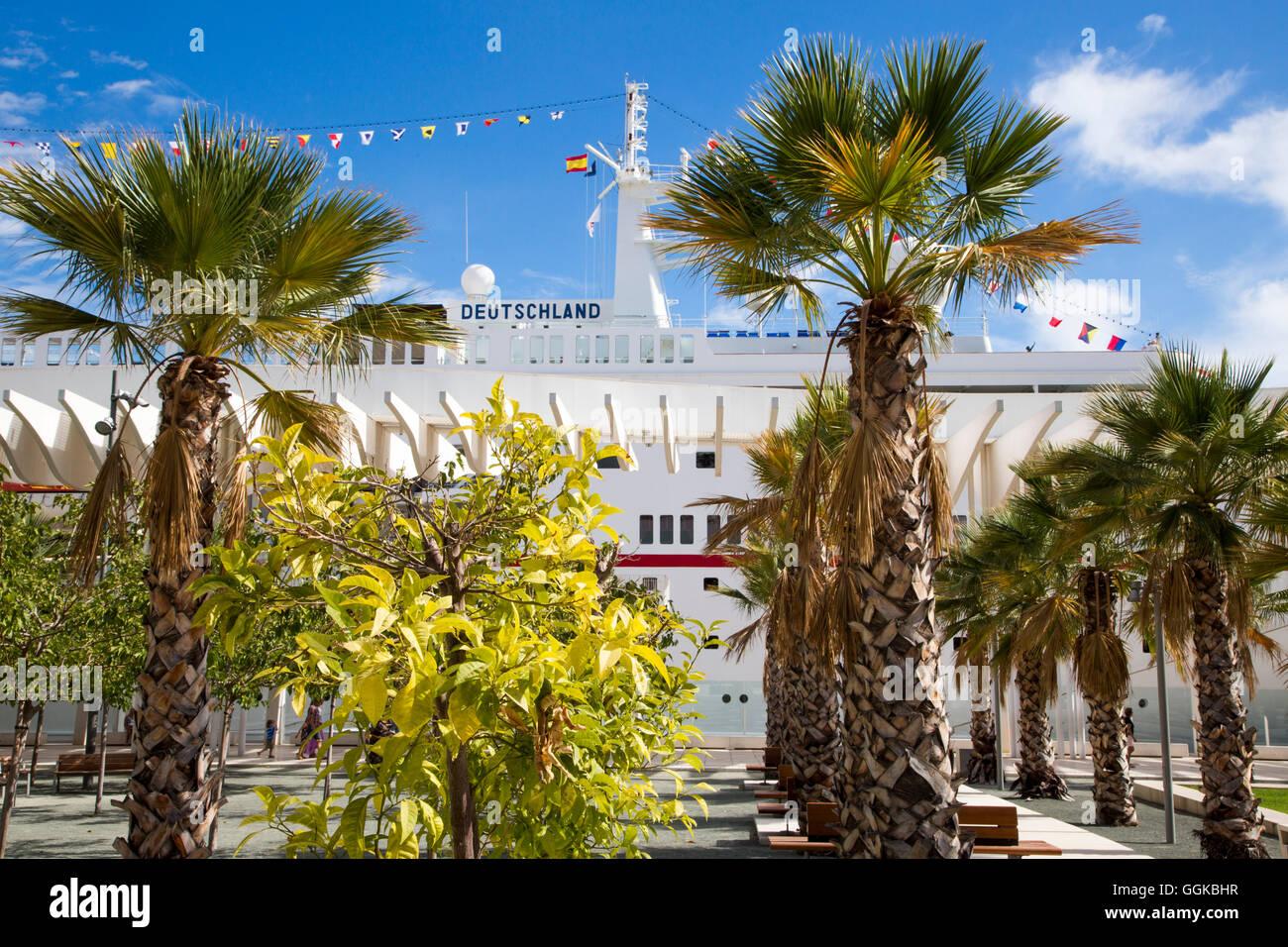 Palm trees and cruise ship MS Deutschland (Reederei Peter Deilmann), Malaga, Andalusia, Spain - Stock Image