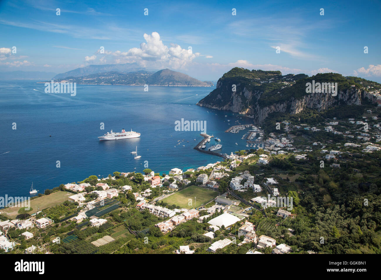 Cruise ship MS Deutschland (Reederei Peter Deilmann) at anchor in harbour, Isola di Capri, Campania, Italy - Stock Image