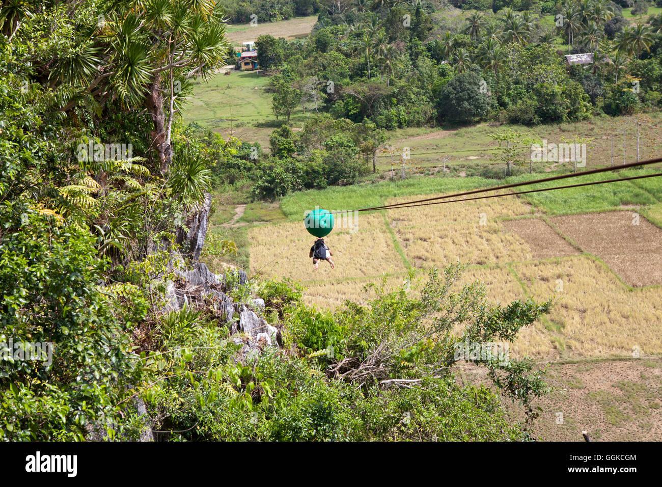 Zipline gliding on the west coast of Palawan Island, Philippines, Asia - Stock Image