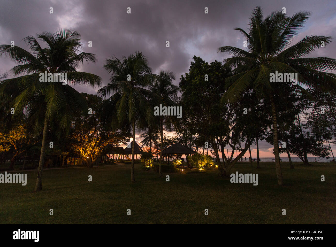 On the Beach at Nexar Resort, Kota Kinabalu, Borneo, Malaysia. - Stock Image