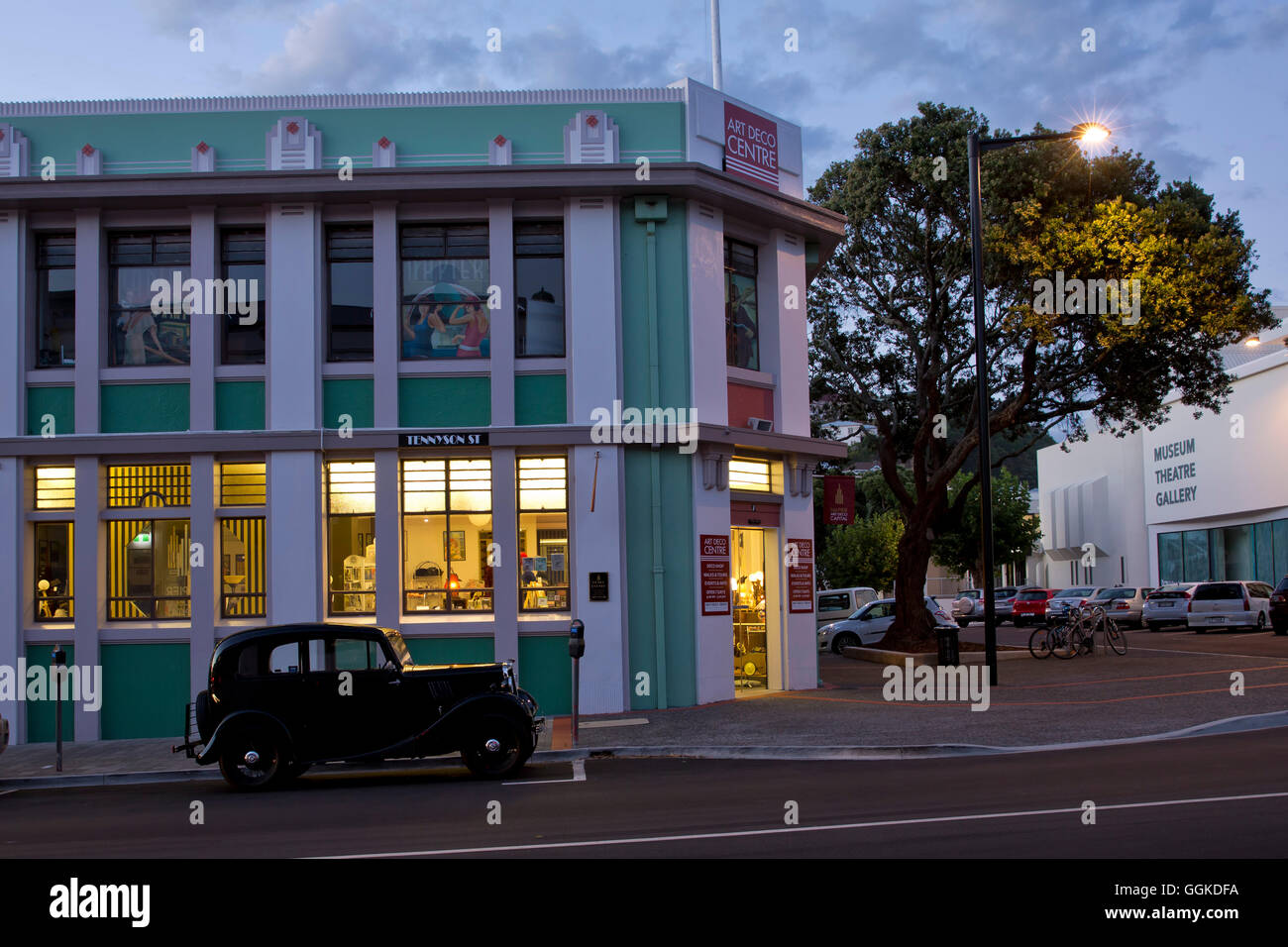 art deco center architecture and design at dusk napier hawke s