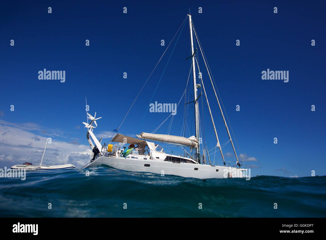 Sailing yacht in the Caribbean Sea Stock Photo