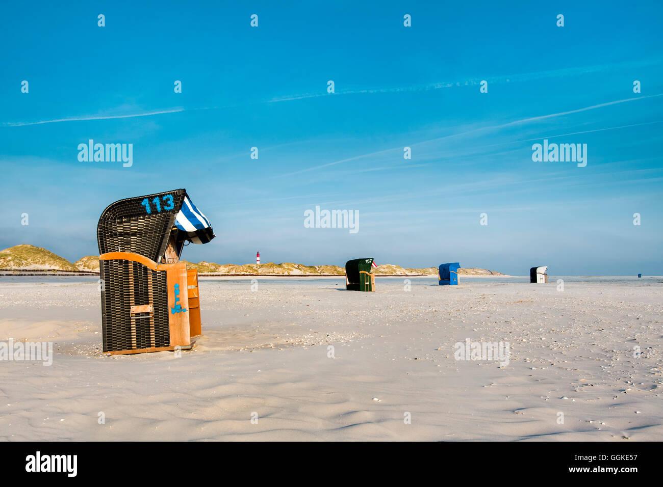 Beach chairs on the beaach, Amrum Island, North Frisian Islands, Schleswig-Holstein, Germany - Stock Image