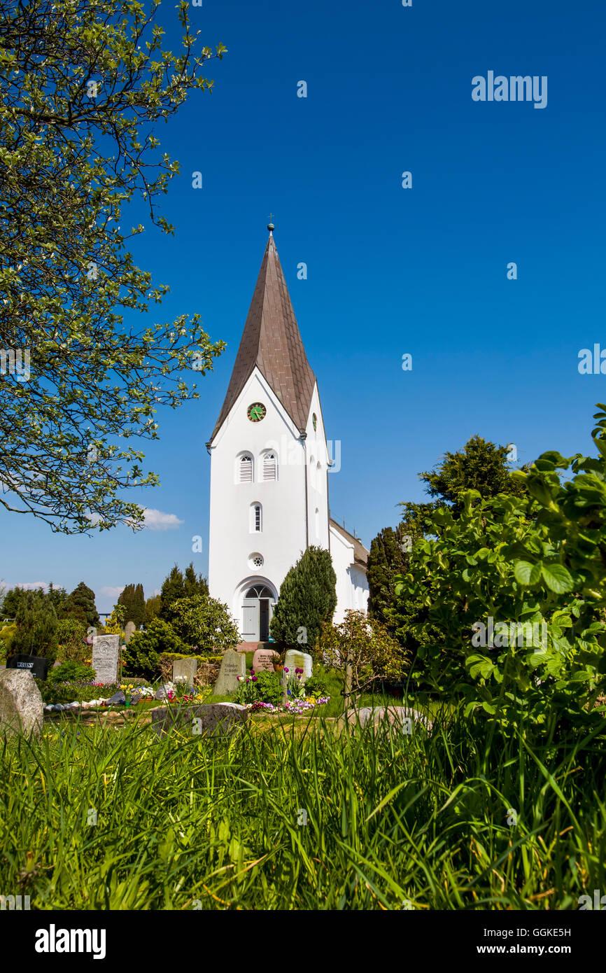 Church, Nebel, Amrum Island, North Frisian Islands, Schleswig-Holstein, Germany - Stock Image