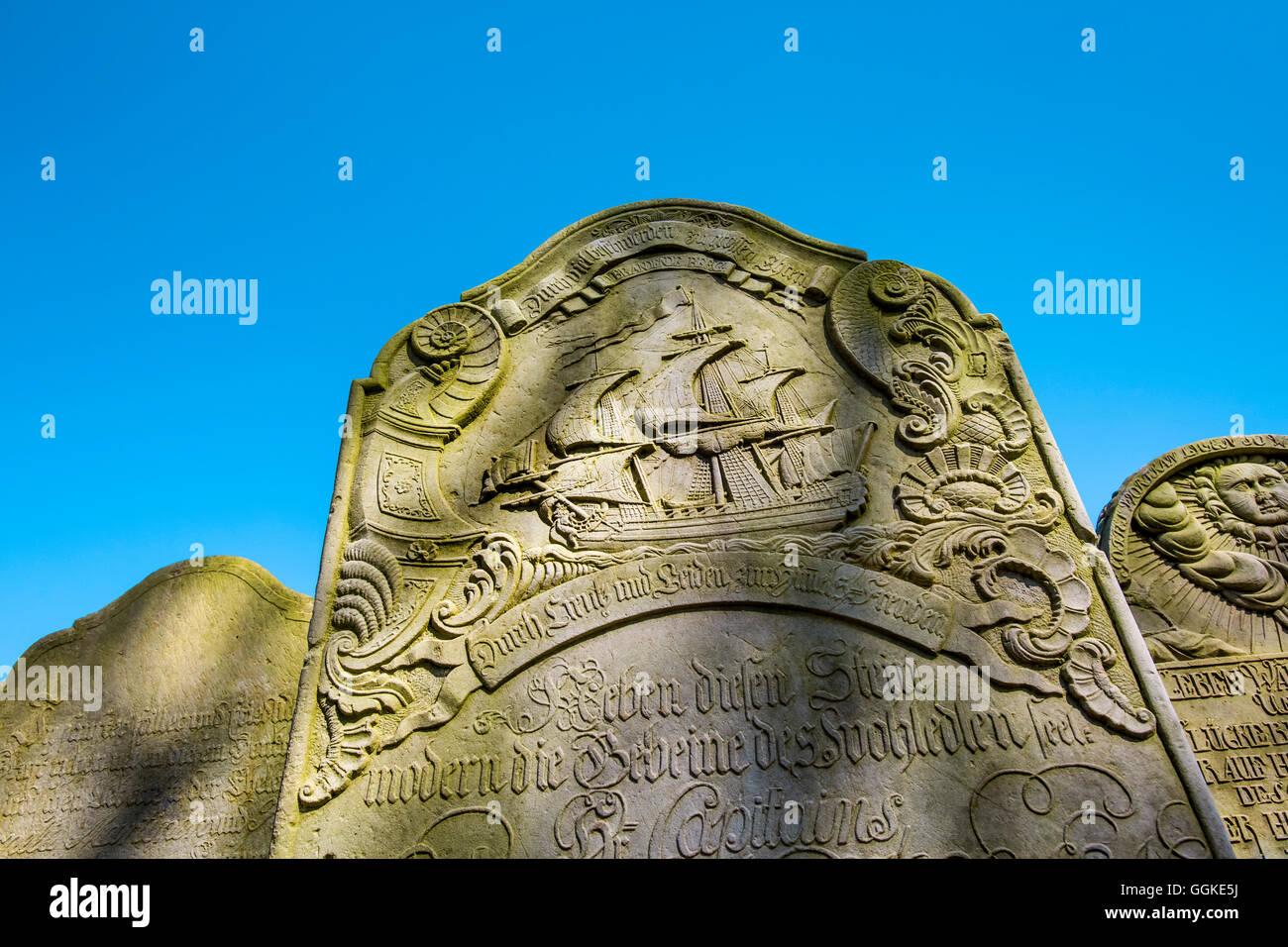 Seamens gravestone, cemetery, Nebel, Amrum Island, North Frisian Islands, Schleswig-Holstein, Germany - Stock Image