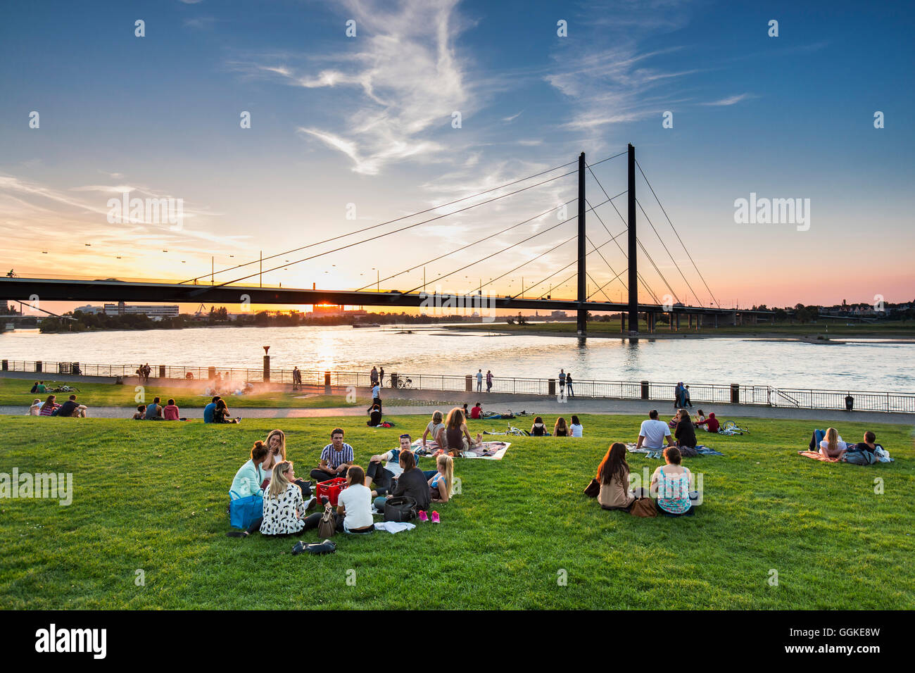 Sunset at the Rhine meadows, Duesseldorf, North Rhine Westphalia, Germany - Stock Image