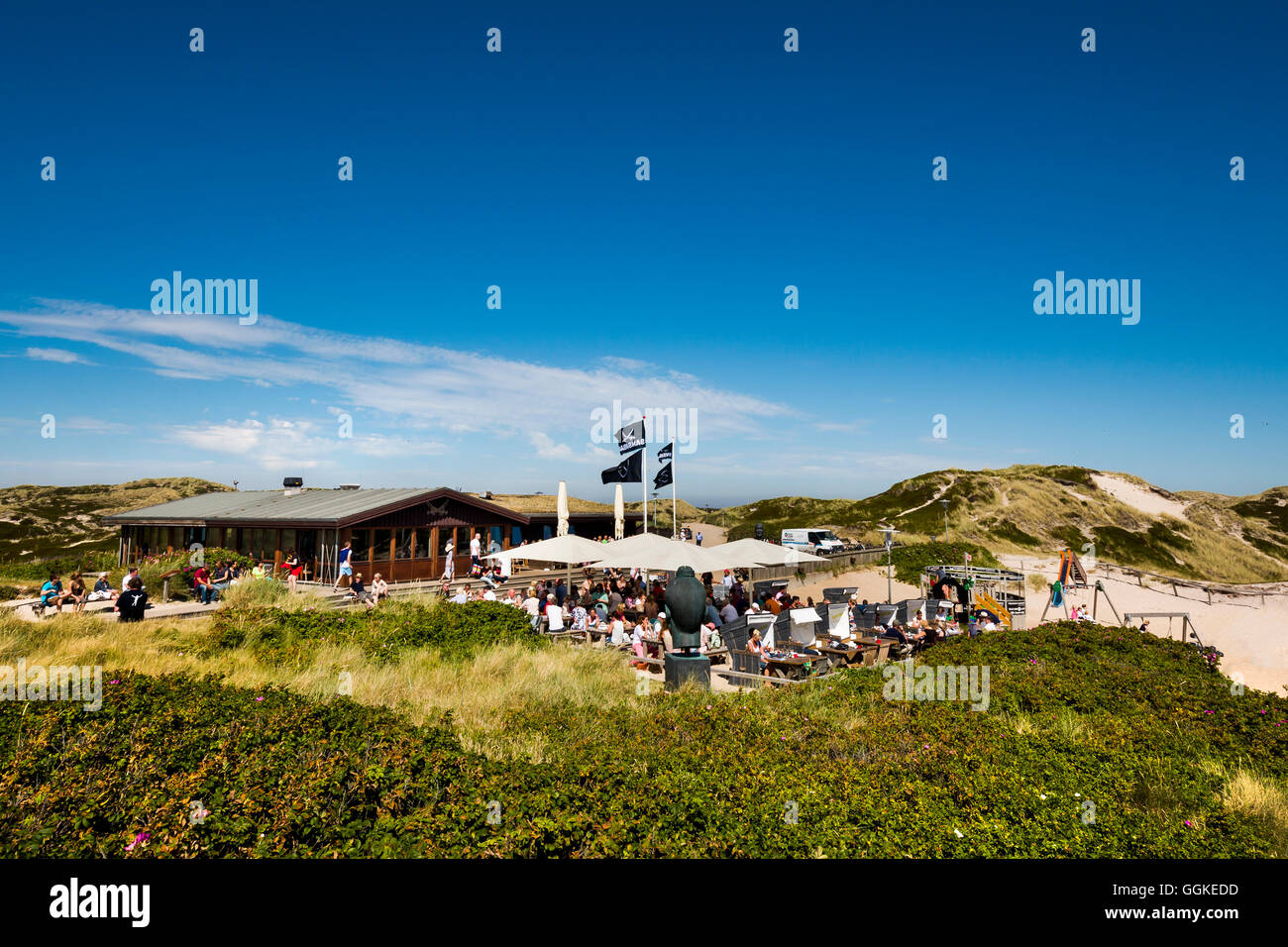 Beach bar Sansibar, Sylt Island, North Frisian Islands, Schleswig-Holstein, Germany - Stock Image