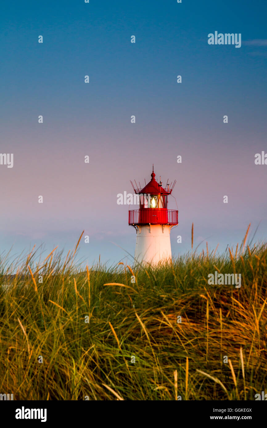 List west Lighthouse, Ellenbogen, Sylt Island, North Frisian Islands, Schleswig-Holstein, Germany - Stock Image