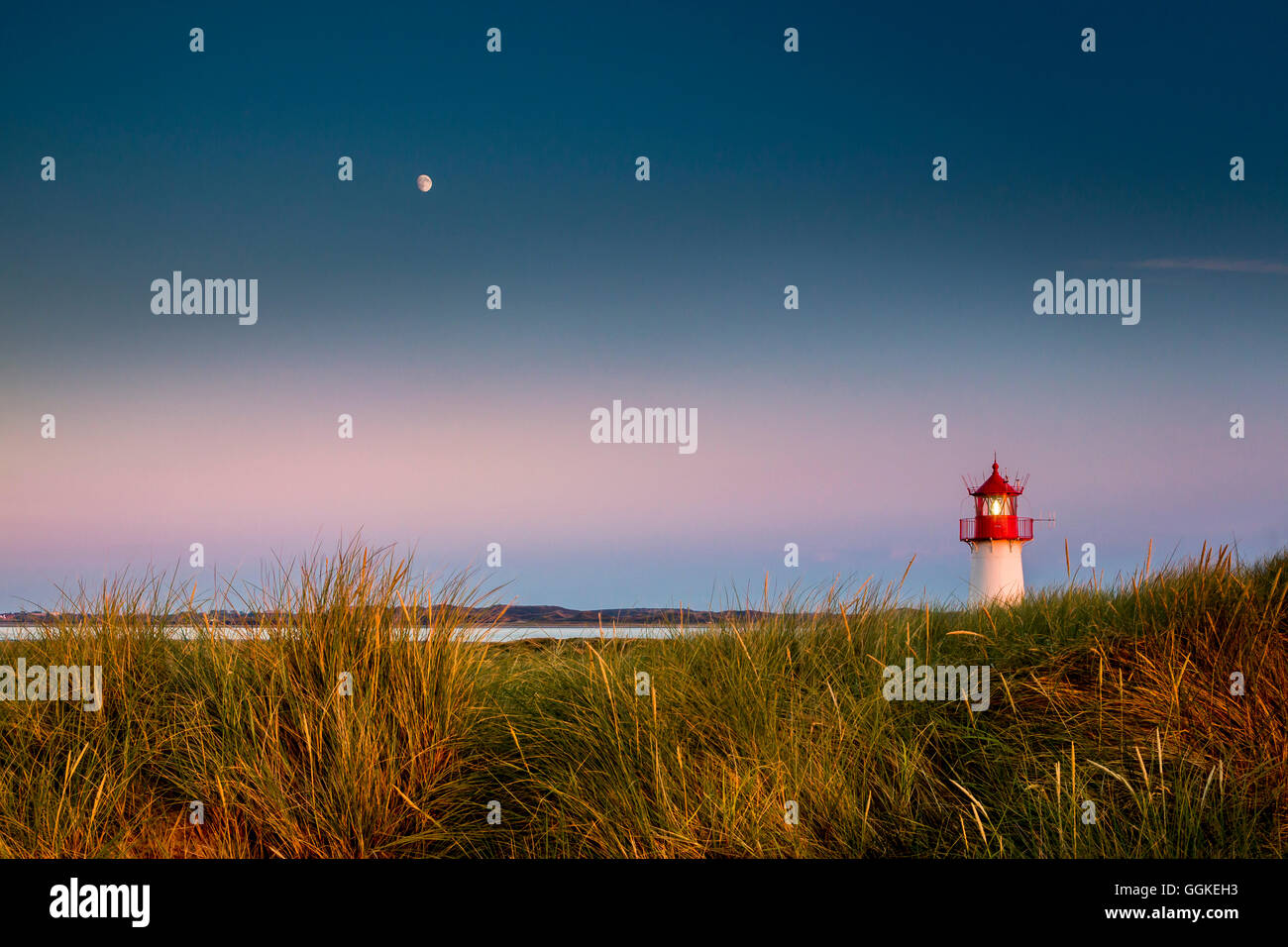 Lighthouse List west , Ellenbogen, Sylt Island, North Frisian Islands, Schleswig-Holstein, Germany - Stock Image