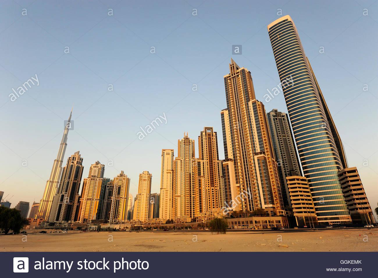 Skyscrapers in Business Bay, Dubai, United Arab Emirates - Stock Image