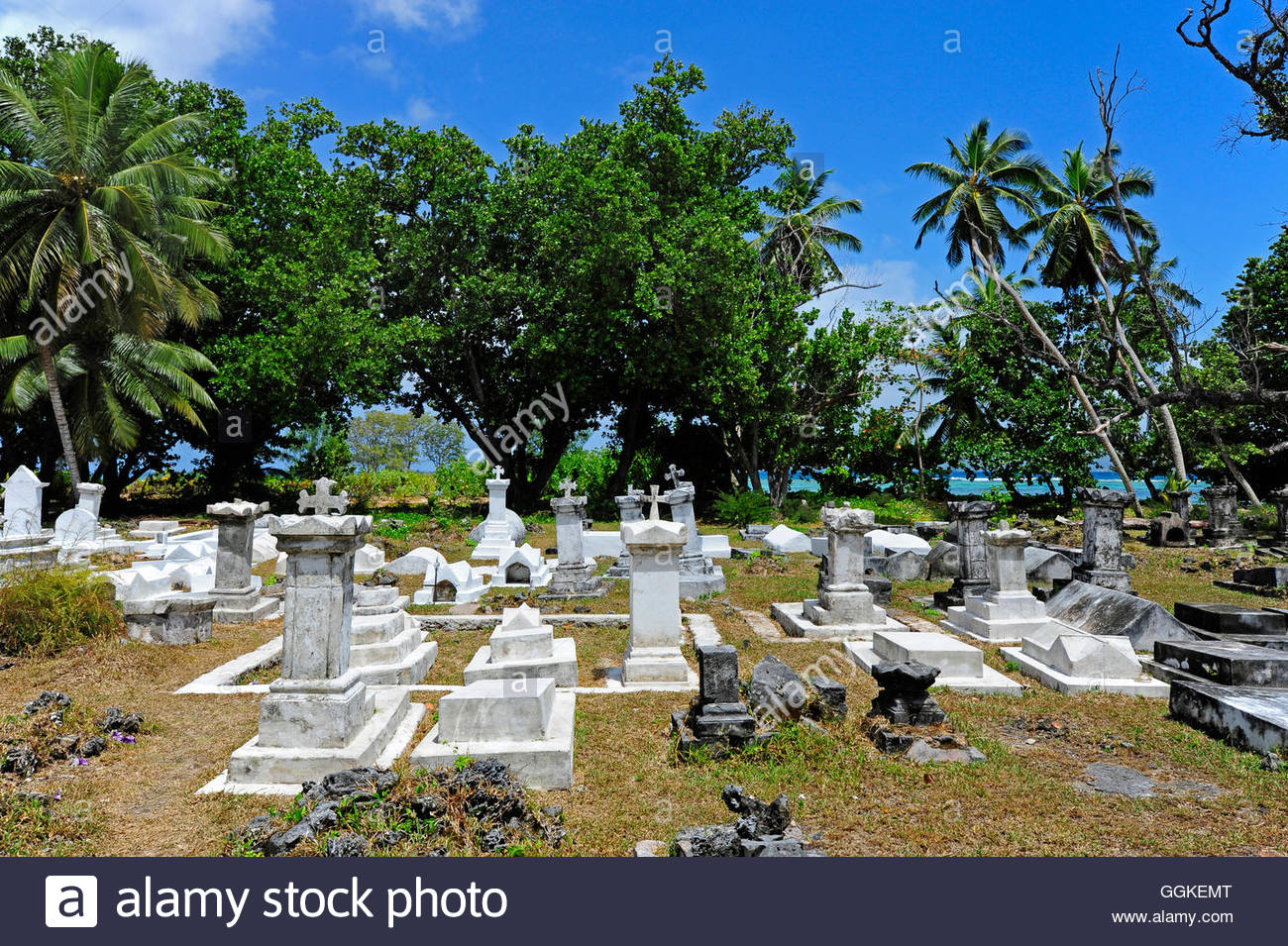 Colonial cemetery on the premises of an old coco plantation, Union Estate national park, La Digue Island, the Seychelles, Stock Photo