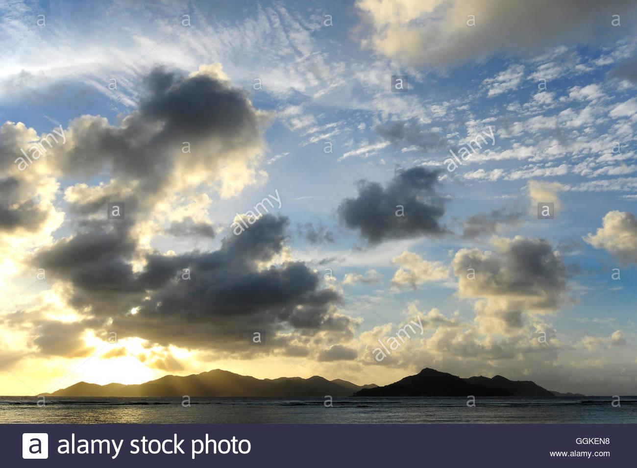 Dark clouds over Praslin Island, the Seychelles, Indian Ocean - Stock Image