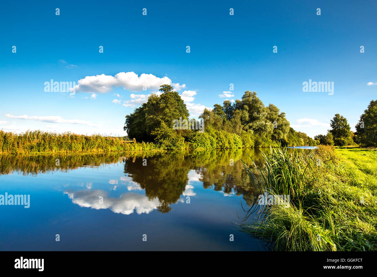 River Hamme, Worpswede, Teufelsmoor, Lower Saxony, Germany - Stock Image
