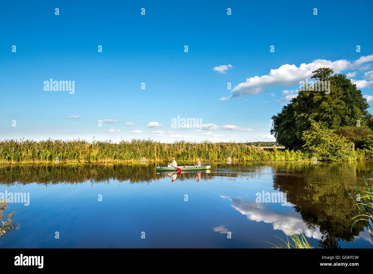 Canoe on the river Hamme, Worpswede, Teufelsmoor, Lower Saxony, Germany - Stock Image