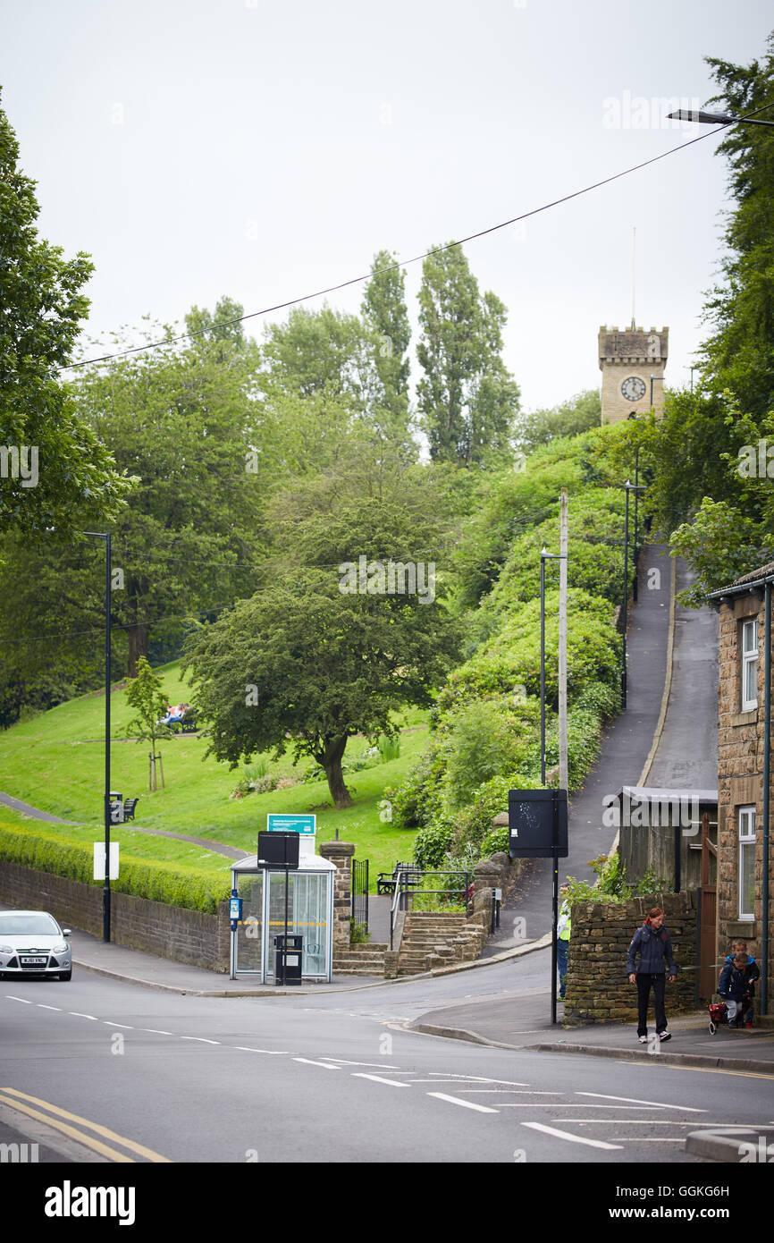 Clock Tower Gardens Nanny Hill steep formal parl, in Stocksbridge Sheffield - Stock Image