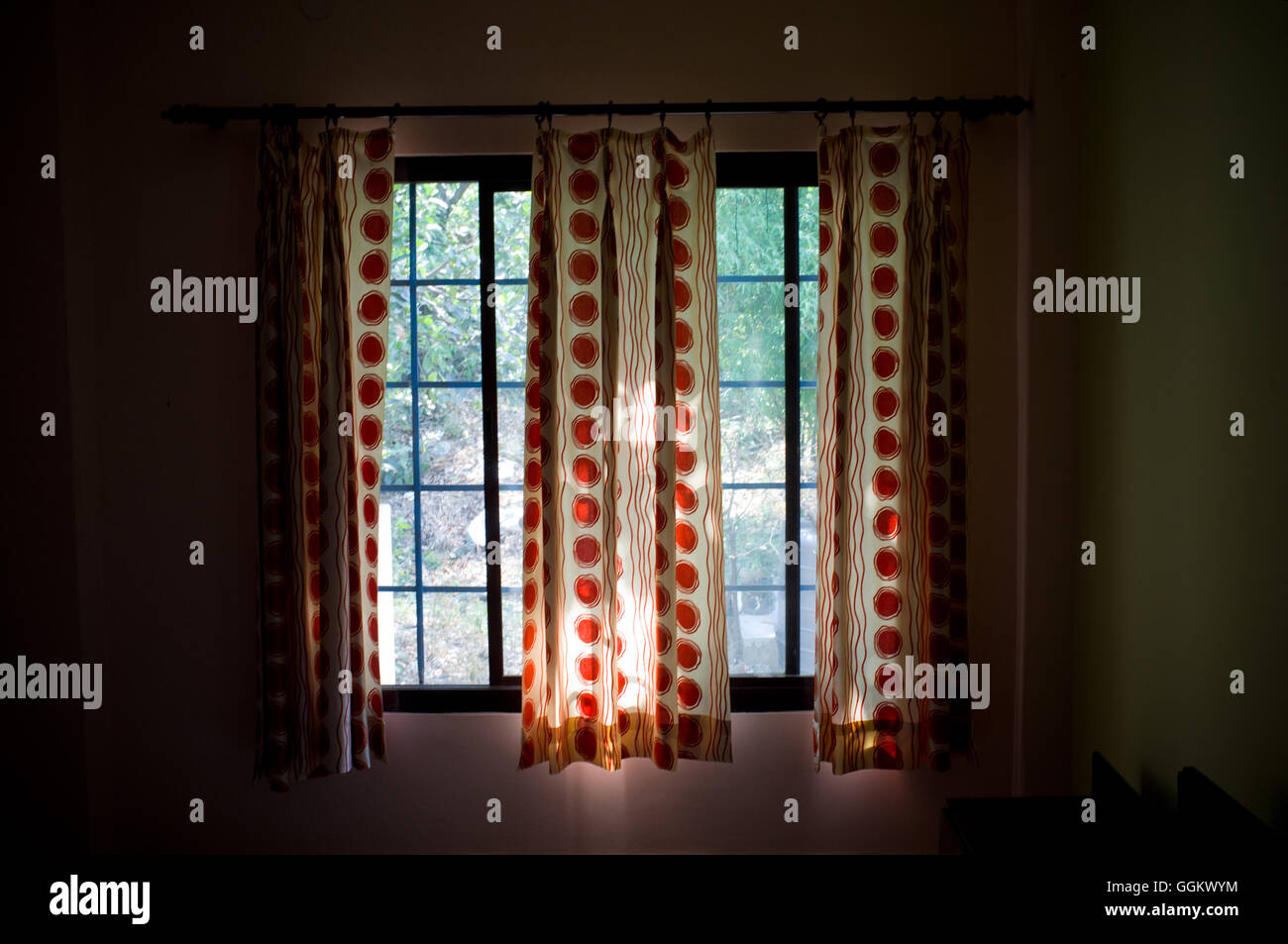 Open curtains in a hotel room of Rishikesh, Uttarakhand, India. © Jordi Boixareu - Stock Image