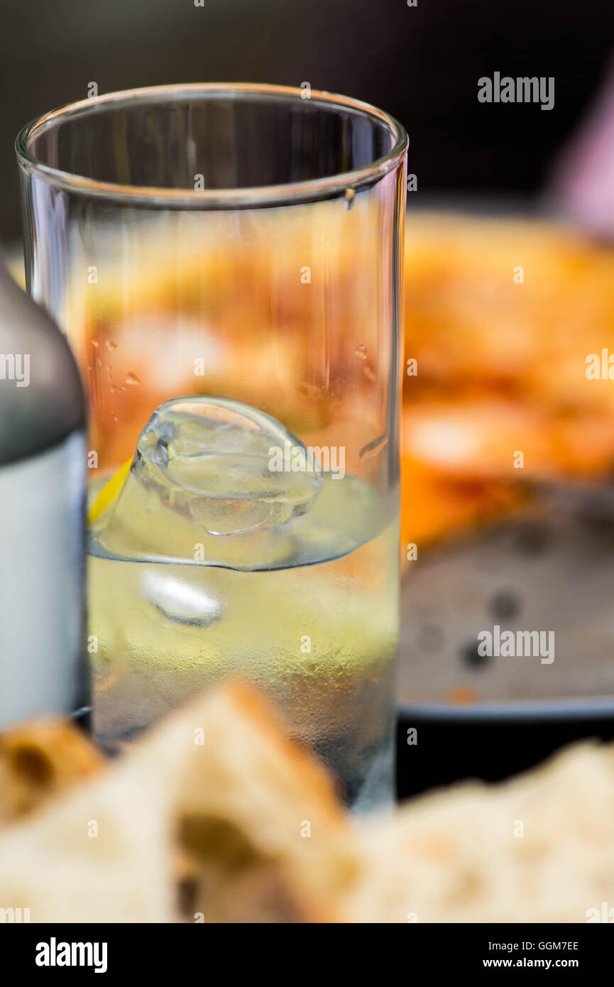 Glass of Iced Cold Still Mineral Water - Stock Image