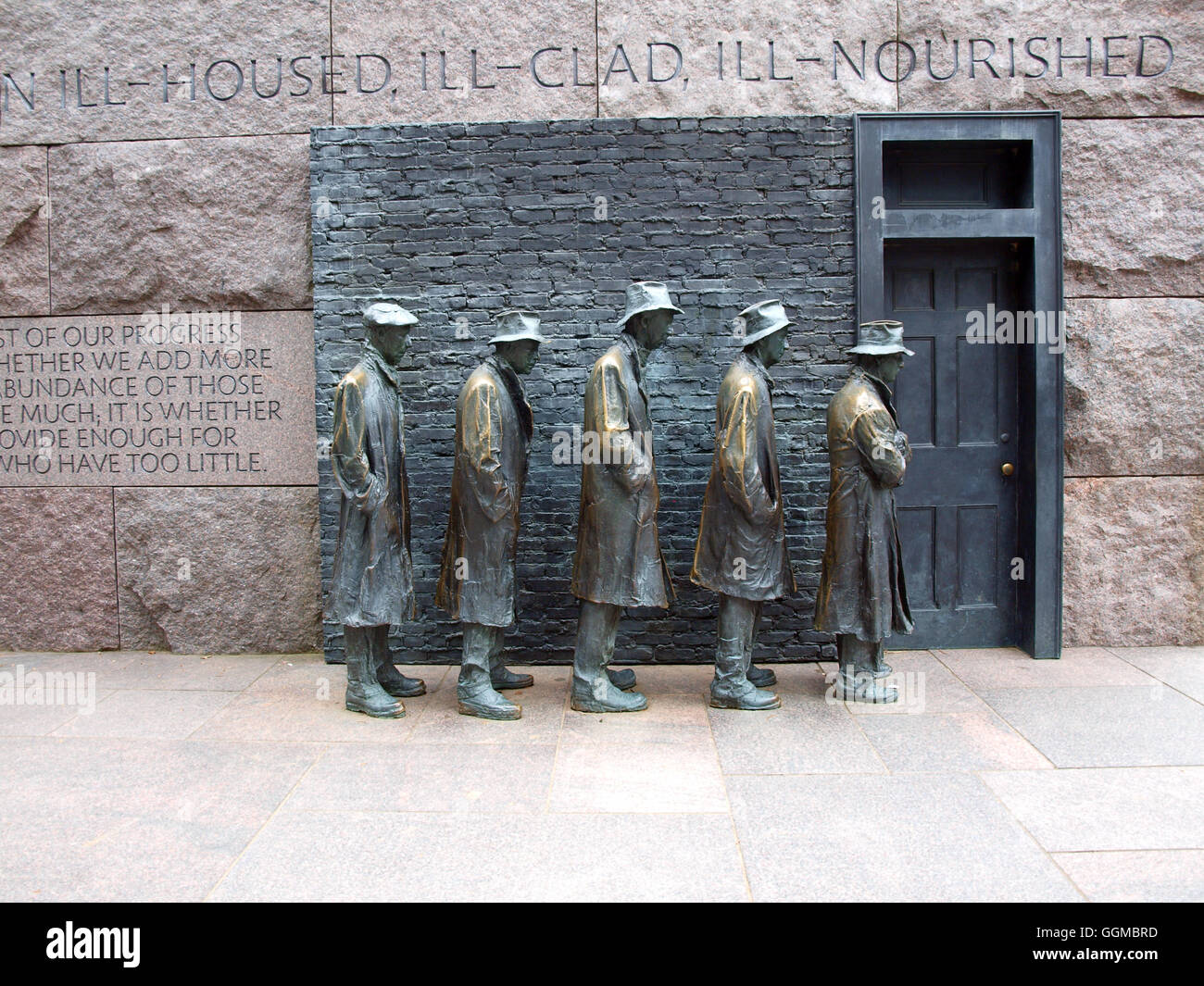 statues of unemployed men standing in a bread line during the Great Depression at the FDR Memorial in Washington, - Stock Image