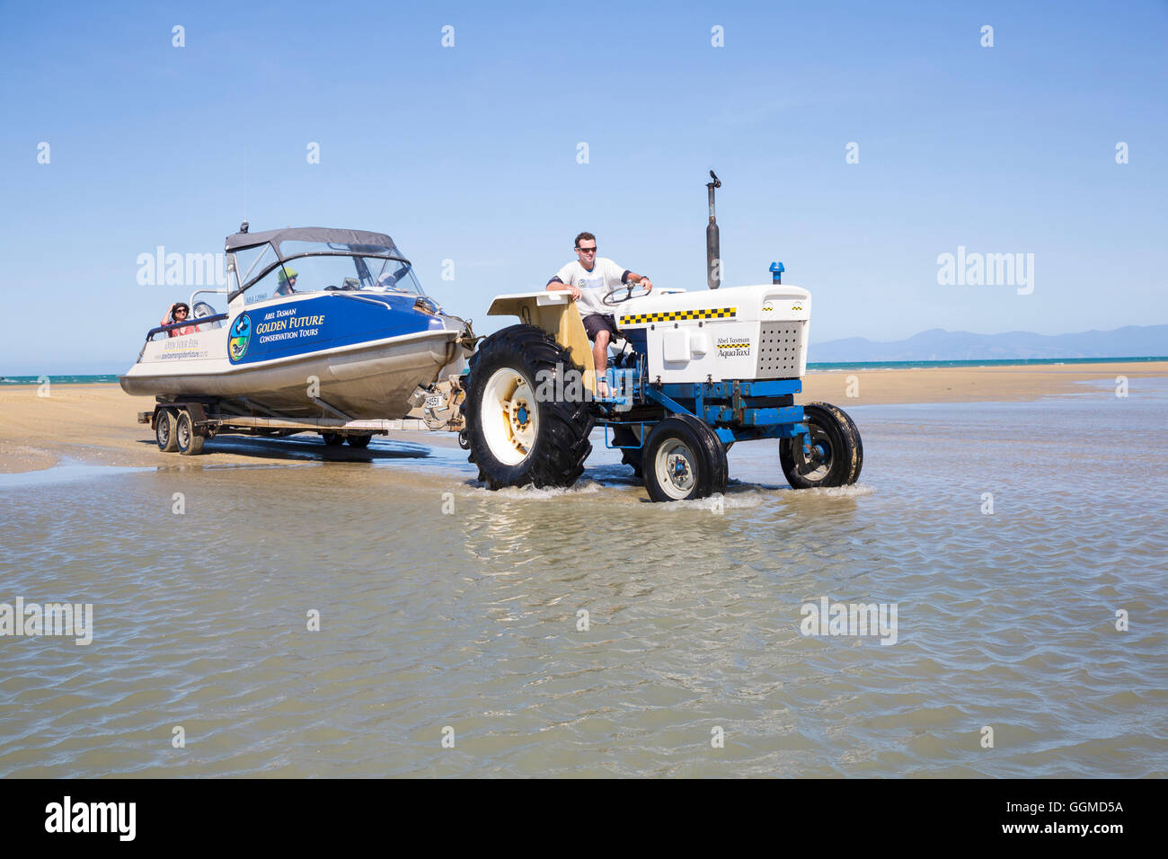 Taxiboat are tugged at low tide out of the sea by tractors, Abel Tasman National Park, South Island, New Zealand - Stock Image