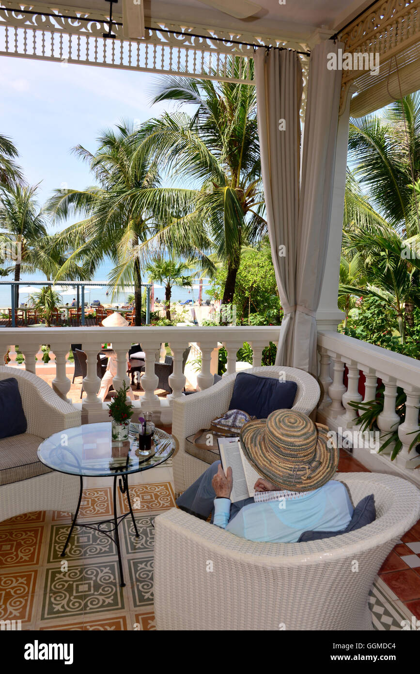 Hotel veranda at Longbeach on the island of Phu Quoc, Vietnam, Asia - Stock Image