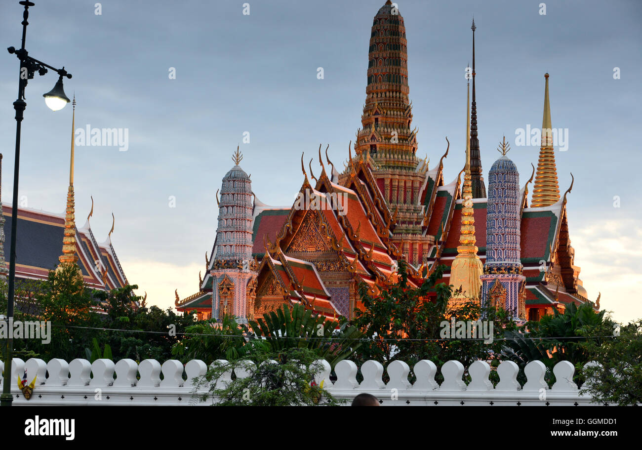 Evening view to Wat Phra Kaeo, Bangkok, Thailand - Stock Image