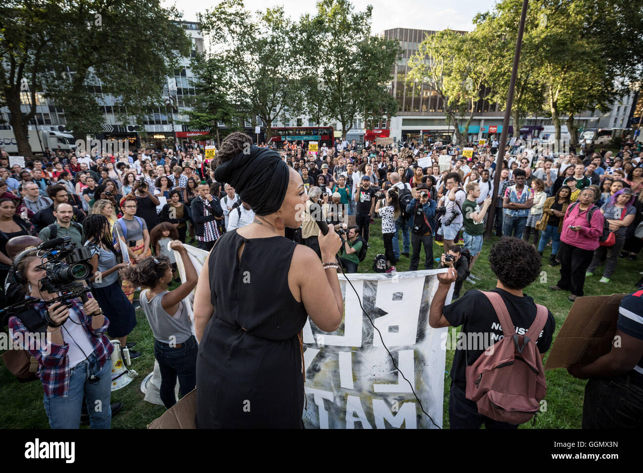London, UK. 5th August, 2016. 'Black Lives Matter UK' protest and rally in East London Credit:  Guy Corbishley/Alamy - Stock Image