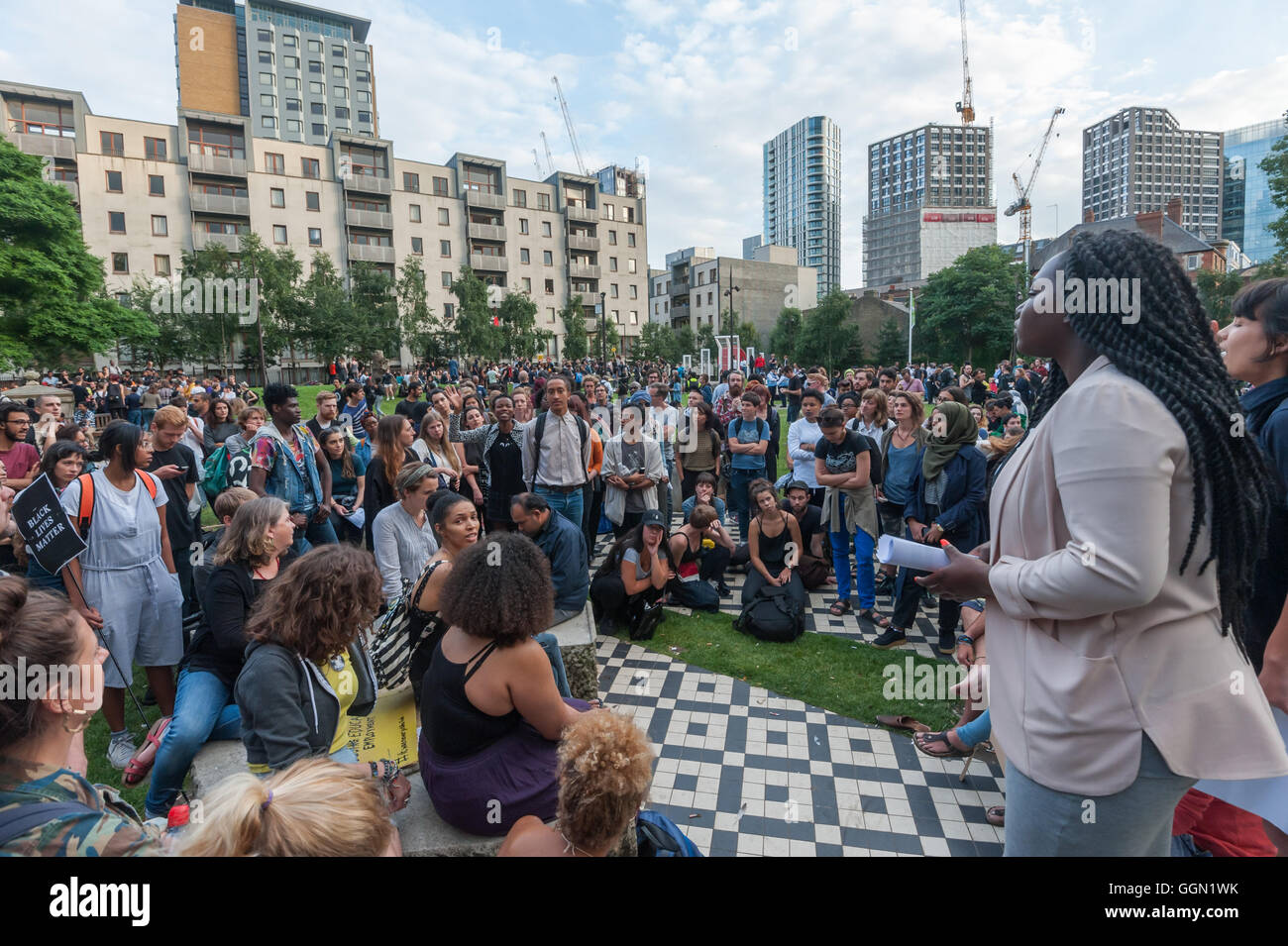 London, UK. 5th Aug, 2016. After the speeches at the Black LIves Matter rally in Altab Ali Park in East London to - Stock Image