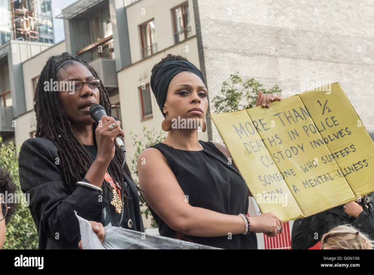London, UK. 5th Aug, 2016. Marcia Rigg, whose brother Sean Rigg was killed by police in Brixton in 2008, speaks - Stock Image