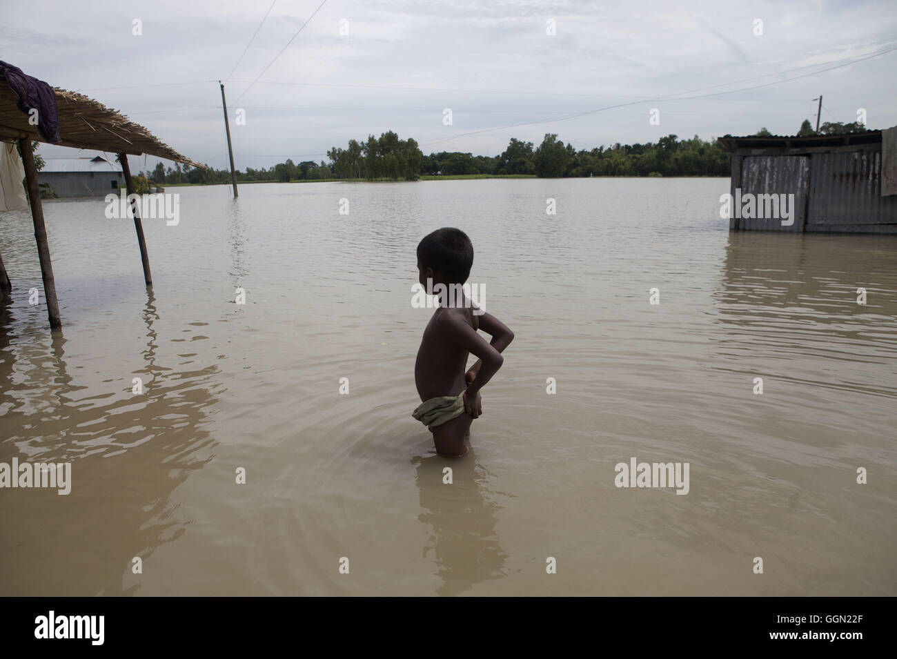 August 2, 2016 - Jamalpur, Mymensingh, Bangladesh - A boy stands in floodwaters, waiting for a boat at Islampur, - Stock Image
