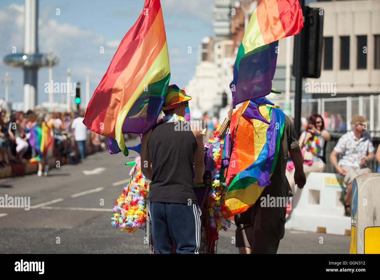 Brighton Pride 6th August 2016, England. - Stock Image