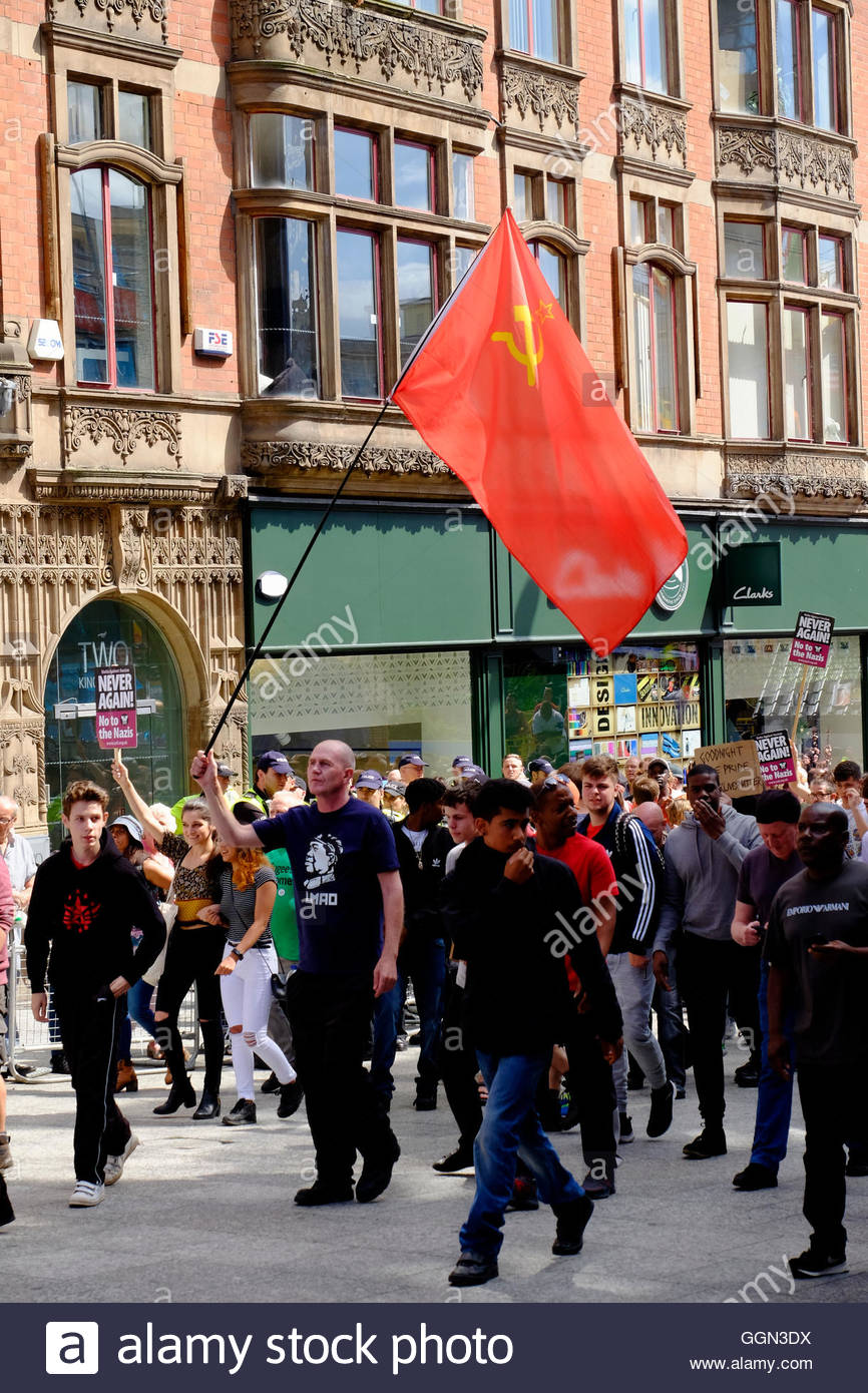 Nottingham, UK. 06th Aug, 2016. Red flag, Counter-demontsration against English Defence League March A small march - Stock Image